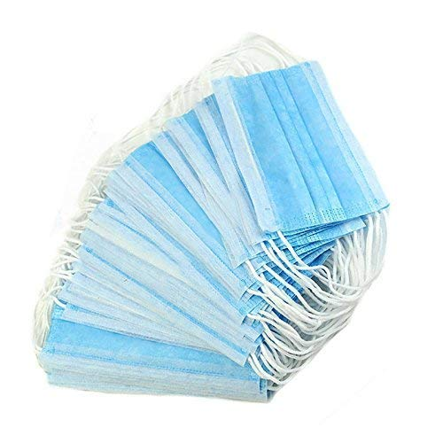 Disposable Face Mask Dust Particle 3-Layer Design Mask Cover with Elastic Earloops - Pack of 50