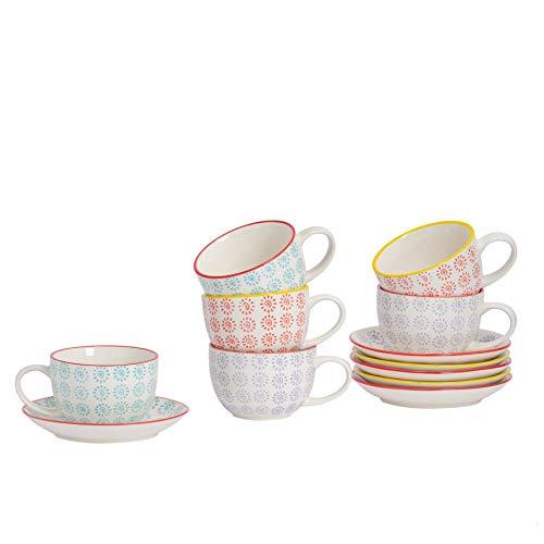 Nicola Spring Gemusterte Porzellan Cappuccino Tassen und Untertassen - 3 Wirbel-Designs - 250 ml - 6er-Set
