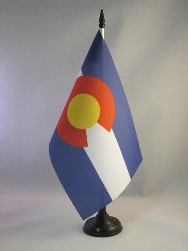 AZ FLAG Bandera de Mesa de Colorado 21x14cm - BANDERINA de DESPACHO Americana DE Colorado - EE.UU 14 x 21 cm