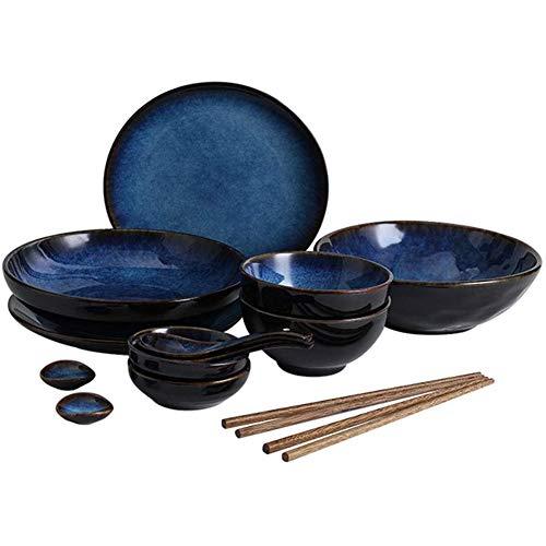Serie Ojo De Gato Azul,Vajilla De 14 Piezas con Cuencos/Platos/Cucharas/Palillos/Lavabo Profundo,2 Servicios