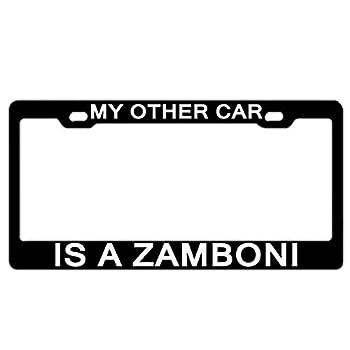 Racing angel Custom USA License Plate Frame Quality Aluminum License Plate Cover License Plate License Plate Frame My Other Car is A Zamboni Black