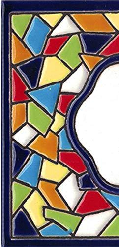 TORO DEL ORO Números casa. Numeros y Letras en azulejo. Ceramica esmaltada, Pintados a Mano técnica Cuerda Seca. Nombres y direcciones. Diseño Mosaico Mediana 5,5x10,5 cm