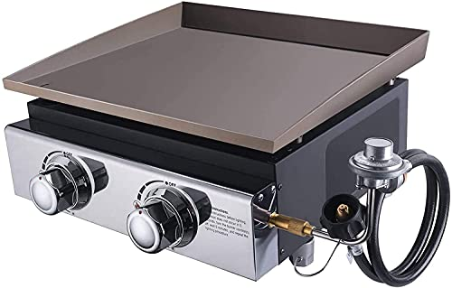 Gas Griddle, 2-Burner Portable Outdoor Griddle 17000 BTU, 281.61 sq. in, Tabletop Propane Griddle Grill with 2 Tank Connectors, Anti-deformation Flat Top Griddle for Outdoor Cooking & Camping