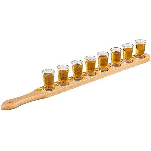 KESPER 68286 Schnapsglasträger mit 8 Gläsern aus Kiefernholz