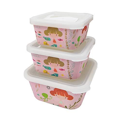 Various 3 Fiambreras bambú Infantil,Ecológico sin BPA,Ideal para Bebés y Niñas,Apto para Lavavajilla-Sirena Rosa