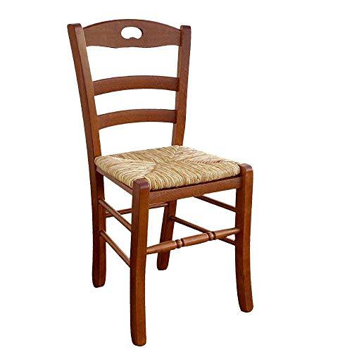Silla modelo Loris con asiento de paja de arroz en color nogal oscuro