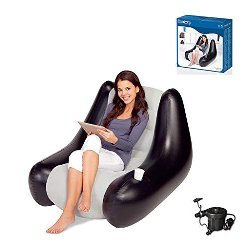 Opblaasbare Recliner Lazy Sofa Lazy Chair Leisure stoel slaapbank Computer Stoel Erker Stoel Bean Bag Opblaasbare Sand Stuur Electric Pump + nekkussen