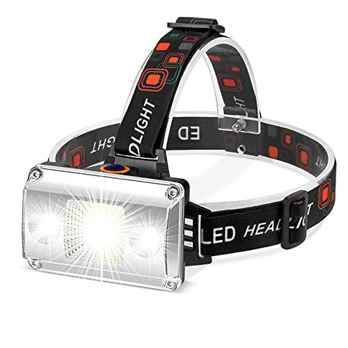 Linterna Frontal LED Recargable, Alta Potencia 18000 Lúmenes, Linterna Cabeza con 4 Modos, Alcance de 500M, luz para bicicleta conImpermeable IPX4 para Casco, Pesca, Bicicleta, Camping y Caza