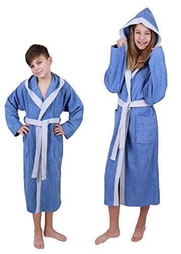 Betz Kinderbademantel mit Kapuze LONDON 100% Baumwolle Kinder Bademantel 2-farbig Größe 140 - jeansblau-hellblau