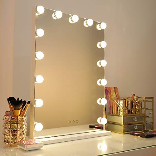 WAYKING Hollywood Speigel Make-up-Spiegel mit LED-Lichtern, Touch-Steuerung, großer Kosmetikspiegel mit Dimmer-LED-Leuchten, Kosmetikspiegel mit Beleuchtung, Schminkspiegel mit 15 Lichter, Weiß