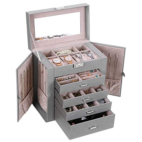 ANWBROAD Jewelry Box with Removable Drawers for Women Large Jewelry Organizer in Different Ways for All Your Jewelry Sturdy Jewelry Case UJJB003H