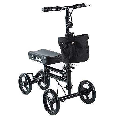ELENKER Knee Scooter Economy Knee Walker with Dual Braking System for Injury or Surgery to The Foot, Ankle Injuries Black