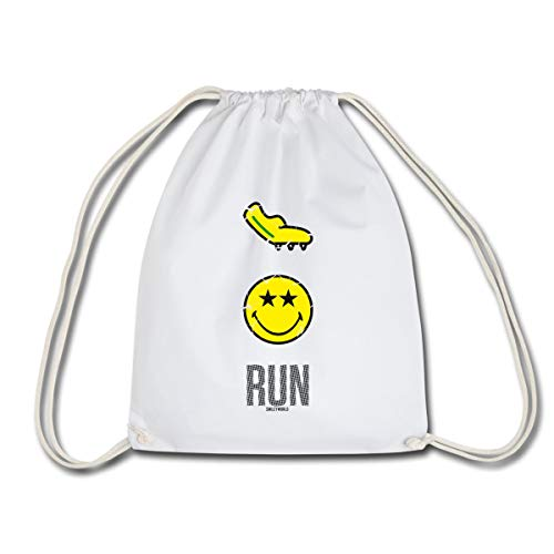 Spreadshirt Smiley World Run Joggen Laufschuh Spikes Turnbeutel, Weiß