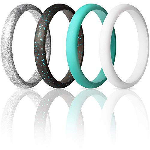 ThunderFit Women's Thin and Stackable Silicone Rings Wedding Bands - 4 Pack (White, Silver, Black Teal Glitter, Teal, 6.5-7 (17.3mm))