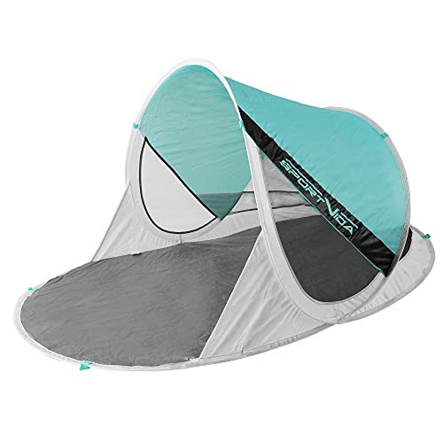 SportVida Strandmuschel Pop Up - Wurfzelt Strandmuschel - Selbstaufbauend Strandzelt mit Tragegriff - Automatisch Portable - Sonnenschutz - Windschutz - Spielzelt (SV-WS0030)