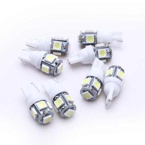 TOOGOO - Juego de 8 Bombillas LED para Luz de coche trasera - Luces para coches Lámpara T10 5 LED 5050 SMD 12V