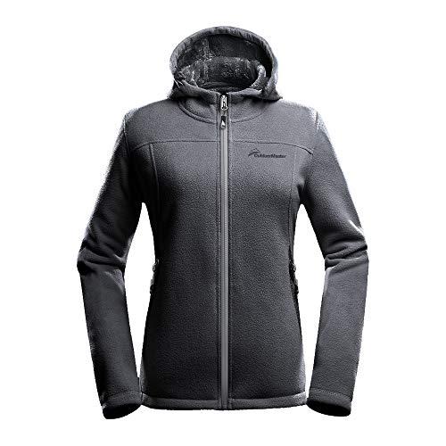 Fleece Jacket Women-Waterproof Plush Lining Rain Coats (GreyHoodie,S)