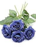 Derbway 4PCS Rosas Artificiales Flor De Seda, Tallo único Rosa Falsa Toque Real Ramo de Flores para Fiesta, Boda, Hogar, Decoración de Hotel (Azul)