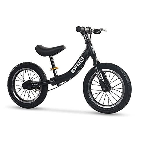 Bueuwe Negro Bicicleta Sin Pedales Ultraligera,14' Bici para Aprender A Mantener El Equilibrio,Manillar Y SillíN Ajustables39-50 Cm,Juguetes para NiñOs De 2 A 6 AñOs,hasta 50 Kg