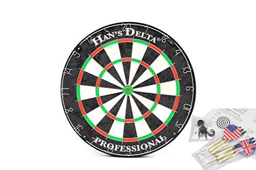 HAN#039S DELTA Professional Regulation Steel Tip Bristle Dartboard Set with StapleFree Bullseye High Tensile Steel Spider Wire Moveable Numbers Ring Includes 6 Steel Tip Darts