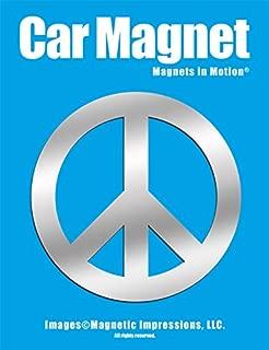 Peace Sign Car Magnet Chrome