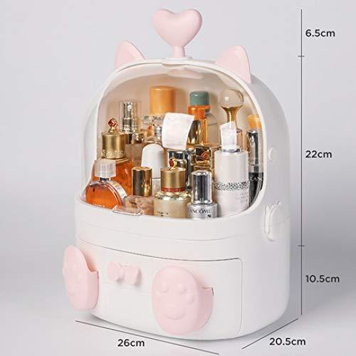 Boîte à Bijoux Sac Cosmétique Multi-Fonction Boîte de Rangement cosmétique en Plastique imperméable Blanc Multicouche de Support de Bureau antipoussière