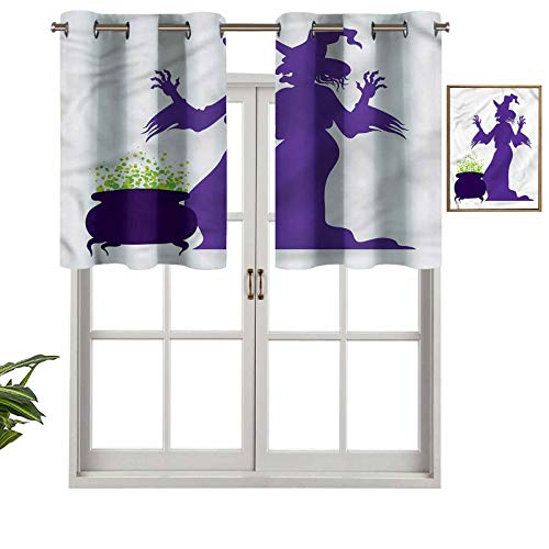 Hiiiman Cortinas térmicas aisladas con cenefa, panel de cortina de caldero de bruja, juego de 2, 42 x 36 pulgadas para decoración de salón comedor