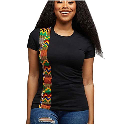 Toimothcn Womens African Print T-Shirt Plus Size Short Sleeve Casual Tee Tops Blouse(Black,Medium)