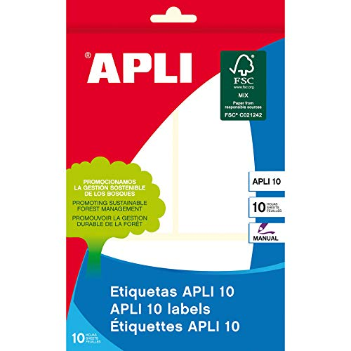 APLI 1660 - Etiquetas blancas (53 x 100 mm) 10 hojas (708242)