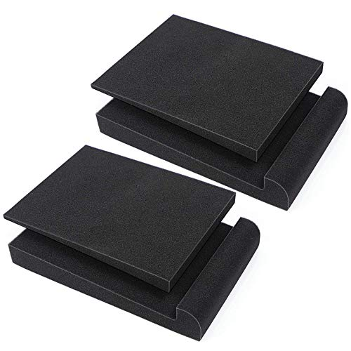 DEKIRU Acoustic Isolation Pads, Studio Foam Monitor Speaker Isolation Pad for 5 Inch Monitors, High Density Acoustic Foam Fits Most Speaker Stands for Sound Improvement Prevent Vibrations- 2 Pads