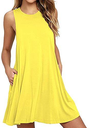 OMZIN Mini Vestidos de Mujer Vestido de Ocio de Verano hasta el Suelo Vestido de Noche Especialmente Amarillo XL