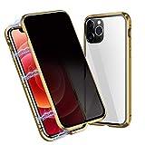 OFOCASE Anti-Spia Magnetica Custodia Compatibile con iPhone 12 PRO Max, Custodia Magnetica Compatibile con iPhone 12 PRO Max 5G,360 Gradi Vetro Temperato Bumper Metallo Case Cover 6.7''(Oro)
