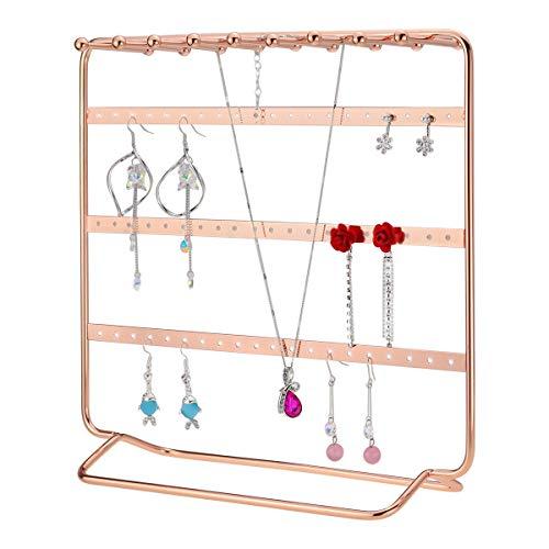 MORIGEM Schmuckständer in edlem Roségold mit 4 Ebenen für Ohrringe, Halsketten, Armbänder (Roségold)