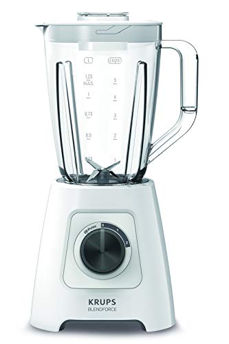 "Krups KB4201 Blendforce Standmixer; 600 W; 2L Kunststoffbehälter; 4 Messer; 2 Geschwindigkeiten+ Pulse-Funktion; Ice Crush- Funktion; ""Smart-Lock""- Technologie; Weiss"