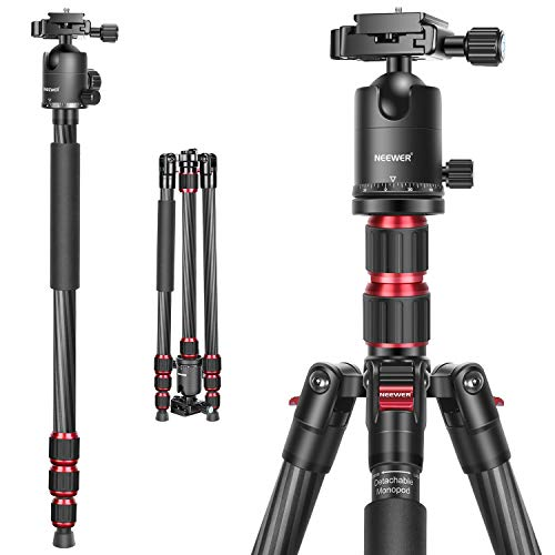Neewer 79 Inches Carbon Fiber Camera Tripod Monopod with 2 Center Axis, 360 Degree Ball Head, 1/4 inch Quick Shoe Plate and Bag for DSLR Camera Video Camcorder Travel and Work,Load up to 26.5 pounds