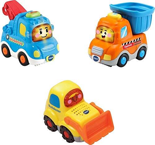 Vtech 80-242174 Tut Tut Baby Flitzer - 3er Set Baustellenfahrzeuge (Abschleppfahrz., Kipplaster, Bulldozer), Babyautos, Mehrfarbig