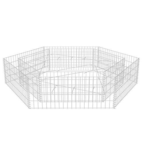 vidaXL Lit Surélevé à Gabion Hexagonale 200x173x40 cm Jardinière de Jardin