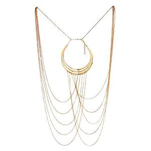 FemNmas Harness Bikini Bralette Gold Body Chains Crossover Necklace for Women