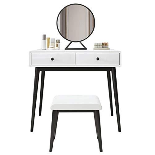 RKRXDH Tocador con Espejo Tocador Mesa De Maquillaje con 2 Cajones, Espejo Taburete Acolchado Tocador De Maquillaje Tocador (Size : 60cm Table and Stool+40cm Mirror)