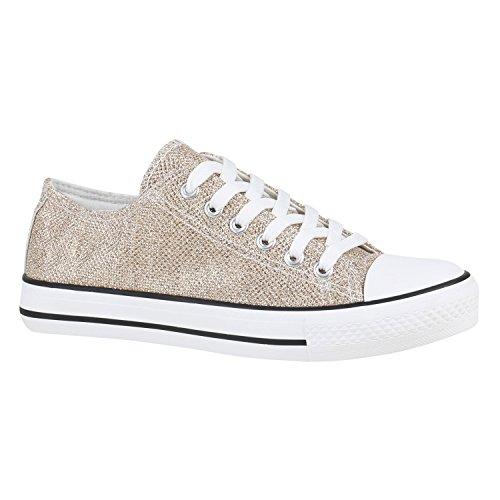 stiefelparadies Damen Schuhe Sneakers Low Canvas Turnschuhe Freizeit 155849 Gold Glitzer 37 Flandell