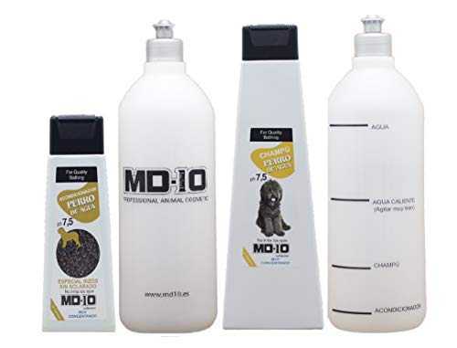 MD-10 COLLECTION Champú + Acondicionador para Perro de Agua + 2 Botellas Mezcladoras (750ml, Marron)