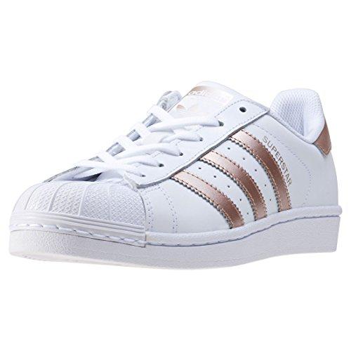 adidas Superstar W, Scarpe da Ginnastica Basse Donna, Bianco (Ftwwht/Supcol/Ftwwht), 39 1/3 EU