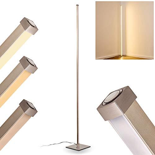 LED Stehlampe Soyo, dimmbare Stehleuchte aus Metall in Nickel-matt, 20 Watt, 1300 Lumen, Lichtfarbe 3000 Kelvin (warmweiß), Bodenlampe mit stufenlosem Touchdimmer am Gehäuse