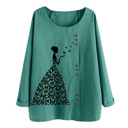 TUDUZ Blusas Mujer Manga Larga Camisas Botón Camisetas Impresión Tops Suelto Talla Extra M-5XL (Verde.h, M)