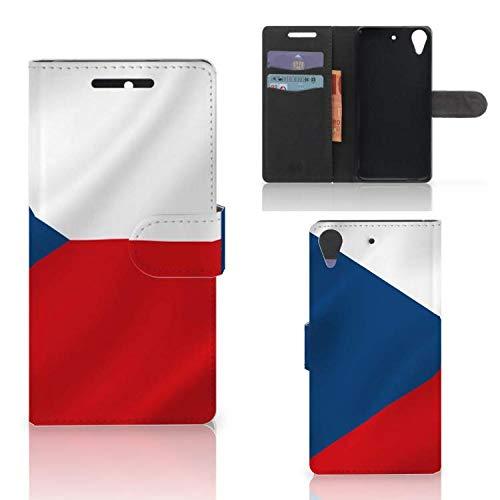 B2Ctelecom Handyhüllen für HTC Desire 628 Kartenfach Tasche Tschechische Flagge