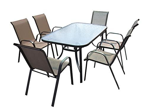 Silla para mesa de jardín, 69 x 56 x 91 cm, revestida de textileno, estructura de acero con reposabrazos, decoración de jardín exterior