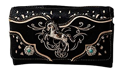 HW Collection Western Horse Equestrian Embroidery Tooling Crossbody Wristlet Clutch Wallet (Black)