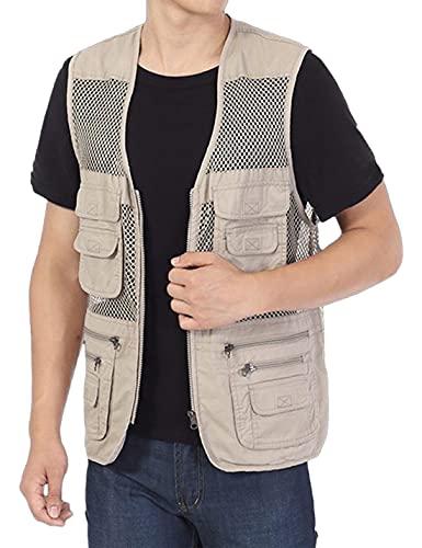 Lentta Men's Cotton Outdoor Mesh Work Travel Fishing Vest Jacket with Multi Pockets(03Khaki-XL)
