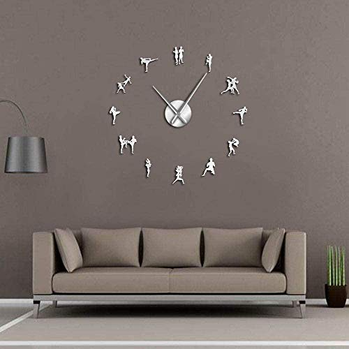 CCJIANI 3D sticker wall clock decoration Thai boxing accurate silent wall clock DIY, suitable for home/office/hotel_silver-47 inches