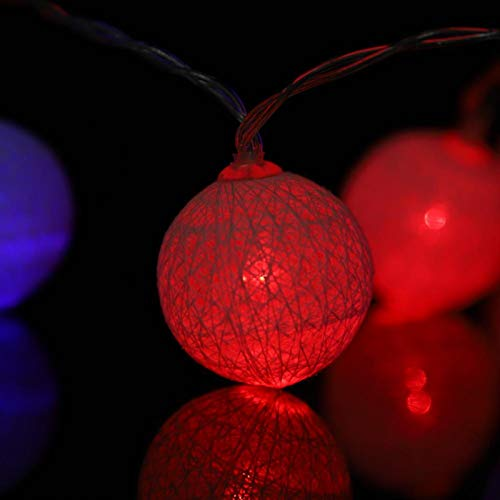 BOLORAMO Decoro String Light, luci a Sfera di Cotone Portatili, Aggiungi Bianco Caldo per l'arredamento di Interni per Il Giardino(colorato)